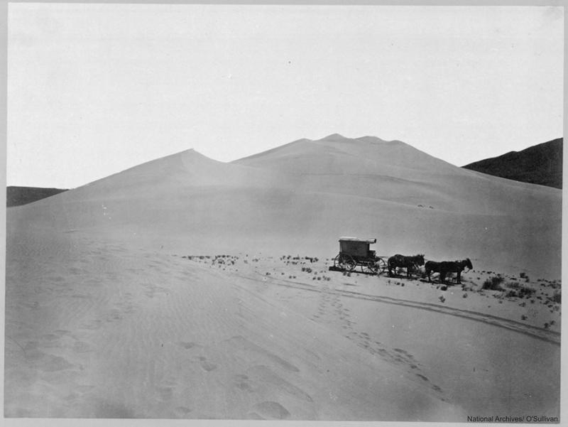 Sand dunes, 1867, Carson Desert Western Nevada RG 77 Records of the Office of the Chief of Engineers, 1789-1988 Photographic Album of the Geological Exploration of the Fortieth Parallel - The King Survey, 1867-1872 ARC ID 519530 77KS-3-160