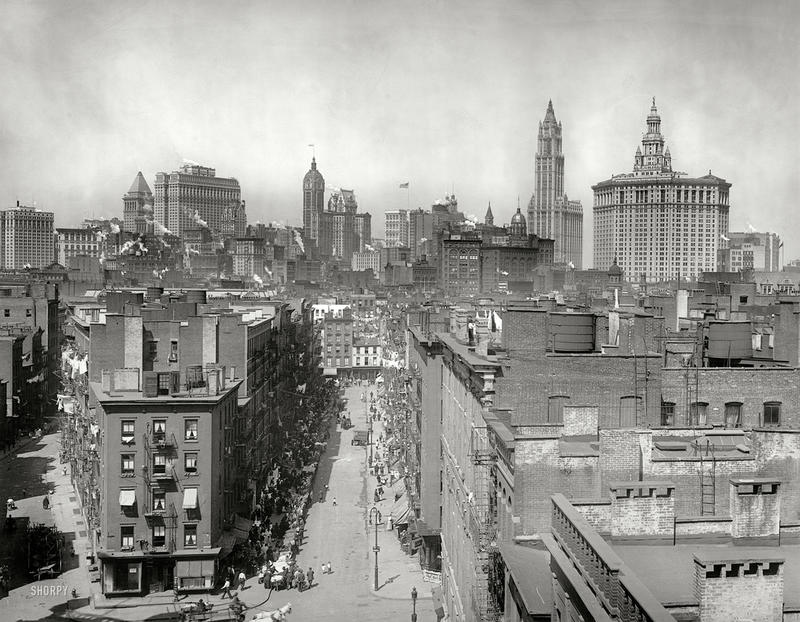 "New York circa 1915. ""New York skyline from Manhattan Bridge."" Another entry from Detroit Publishing's series of sooty cityscapes."