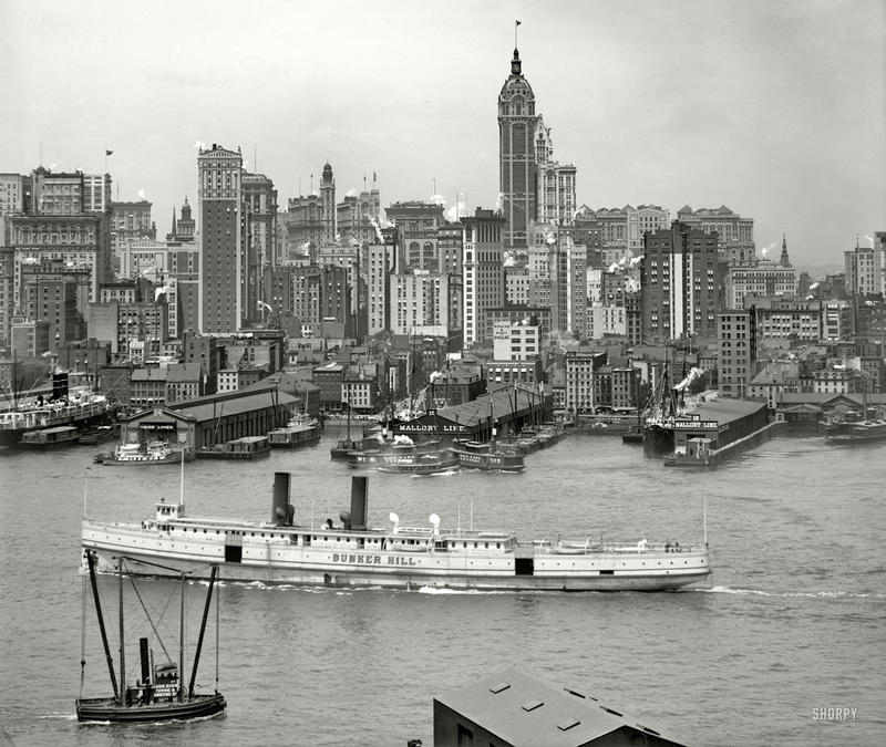 "Manhattan circa 1908. ""New York skyline."" Part of an eleven-section panorama. 8x10 inch dry plate glass negative, Detroit Publishing Company."
